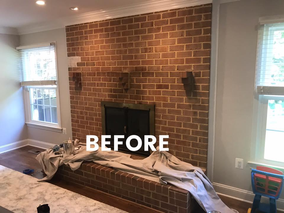 Before whitewash brick hearth fireplace Virginia, Maryland, Washington DC