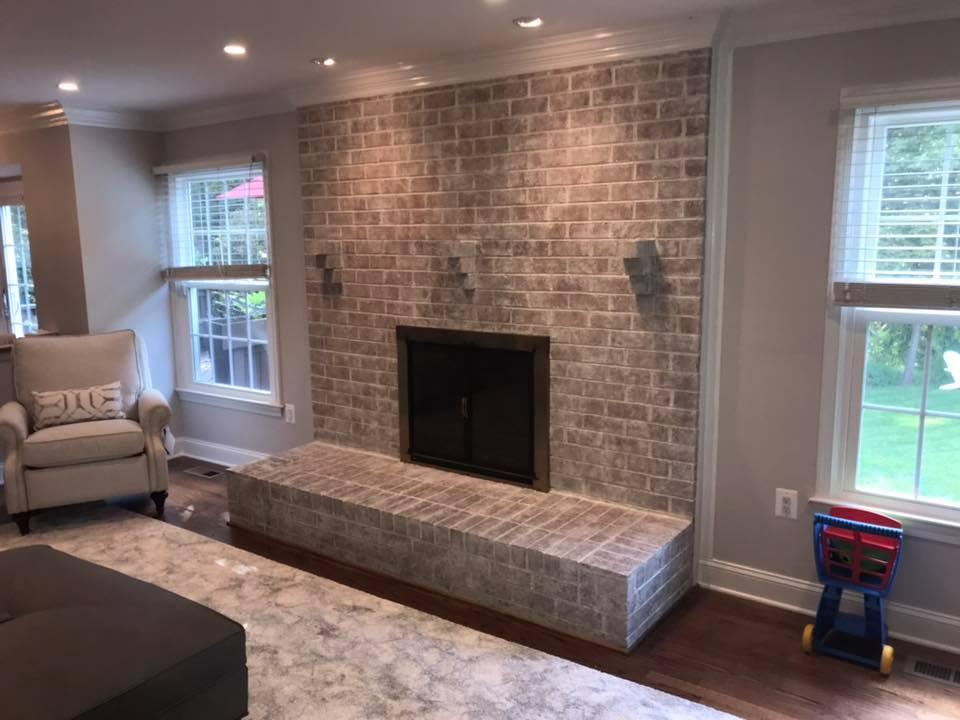 After whitewash brick hearth fireplace Virginia, Maryland, Washington DC