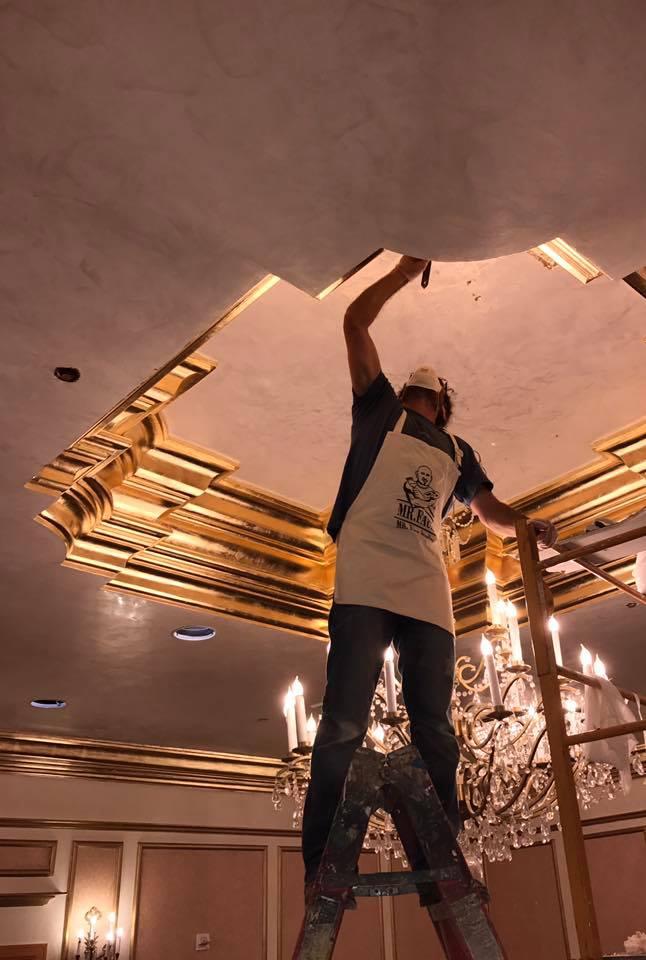 Mr Faux Dream Team St Regis Washington DC Venetian Plaster, Goldleaf Design by Myron Wolman