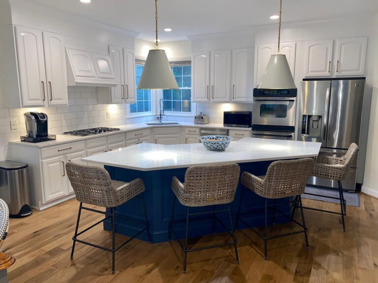 Mr Faux painted kitchen cabinetry makeover colors Chantilly Lace & Van Dreusen Blue Leesburg Va