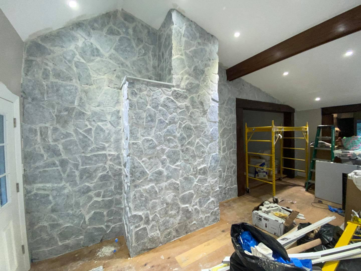 After Whitewash over the stone wall in Sterling Virginia