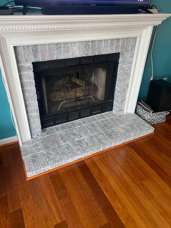 Whitewashing brick fireplace (After) Mr Faux Studio Sterling Virginia. Maryland, Washington DC