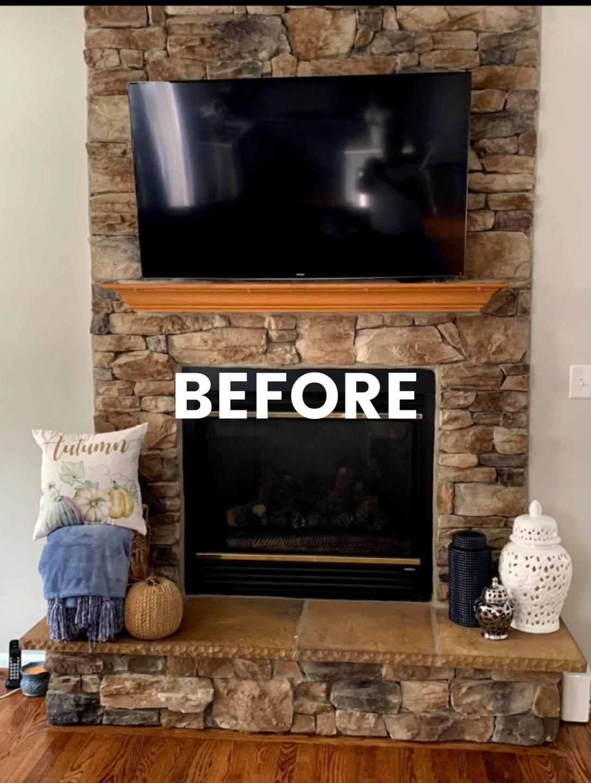 Whitewash Stone fireplace before. Sterling Virginia, Maryland and Washington DC