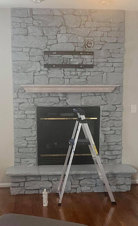 Whitewash Stone fireplace After. Sterling Virginia, Maryland and Washington DC